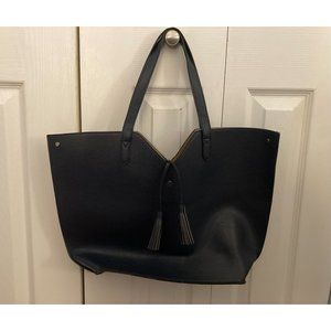 Neiman Marcus Navy Blue Lamb Leather Tote Bag